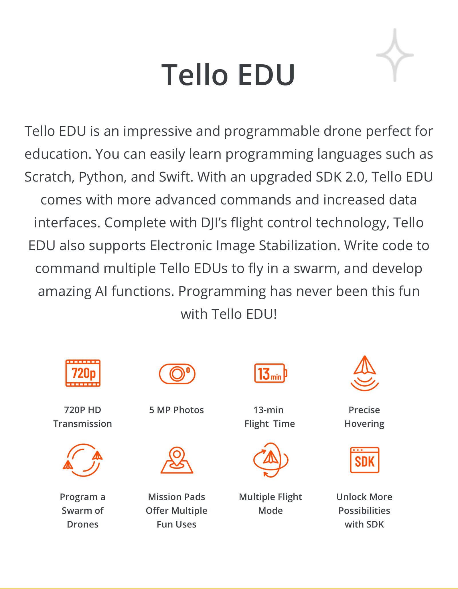 Buy DJI Tello EDU Minidrone Quadcopter today at DroneNerds